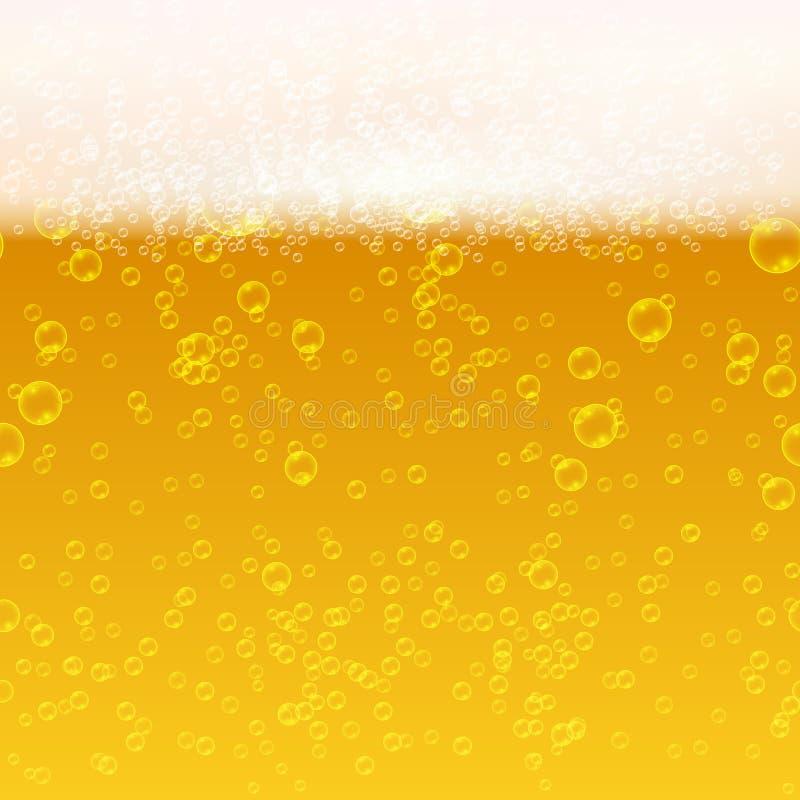 Sluit omhoog licht bier met schuim en bellen vector naadloze achtergrond stock illustratie