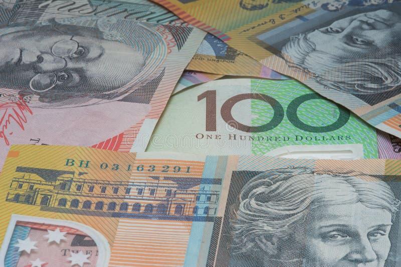 Sluit omhoog Macro Australisch Nota'sgeld stock foto