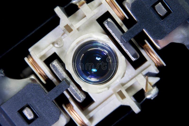 Sluit omhoog macro Laser Hoofdlezer van CD-het materiaal van het spelersysteem royalty-vrije stock afbeeldingen