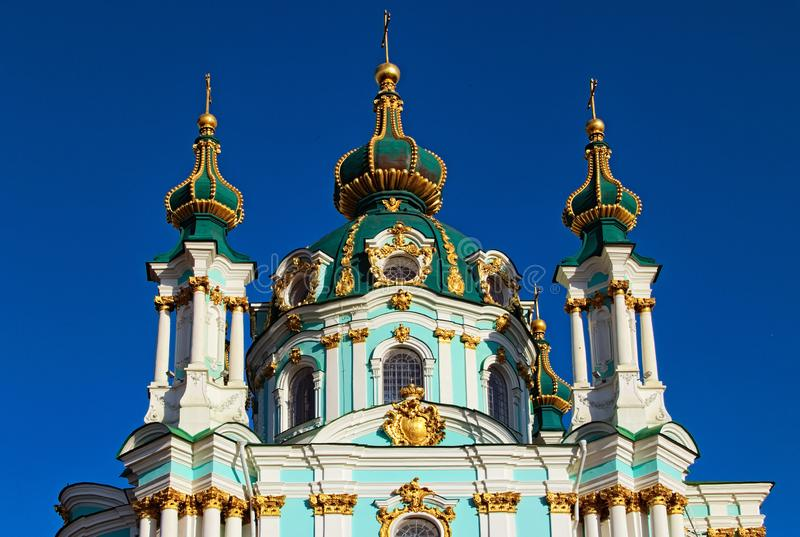 Sluit omhoog mening van het charmeren van oude Heilige Andrew Church Het is een belangrijke Barokke kerk Het werd geconstrueerd t stock afbeelding