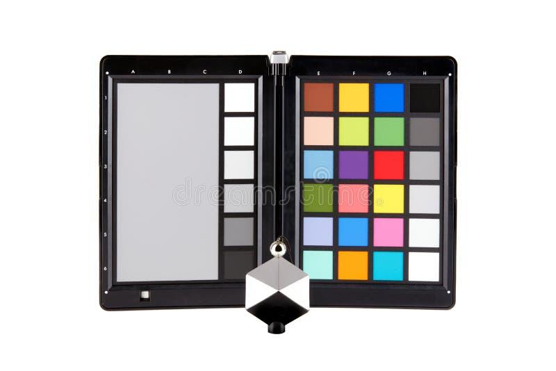 Sluit omhoog mening van het materiaal van de kleurencontroleur van professionele fotograaf royalty-vrije stock fotografie