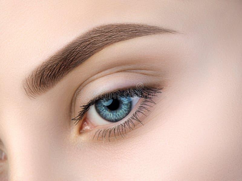 Sluit omhoog mening van mooi blauw vrouwelijk oog stock foto