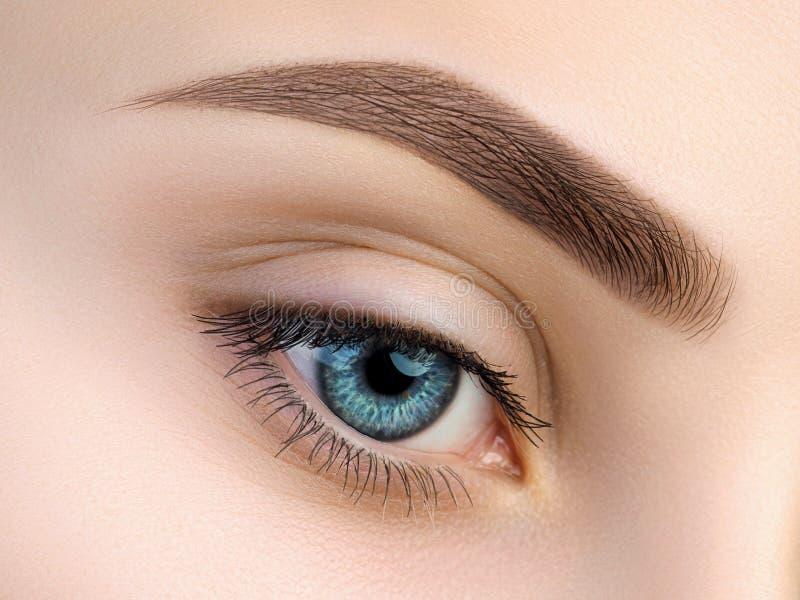 Sluit omhoog mening van mooi blauw vrouwelijk oog royalty-vrije stock foto