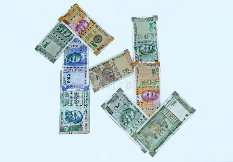 Sluit omhoog mening van nota's van de 200.500.100 en 10 Roepies de Indische munt royalty-vrije stock foto's