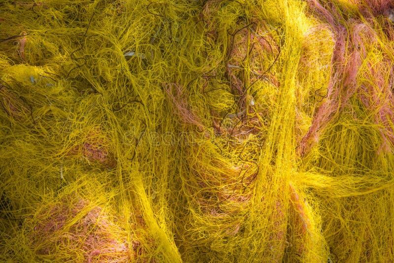 Sluit omhoog mening van visnetten, Milos-eiland, Griekenland royalty-vrije stock foto's