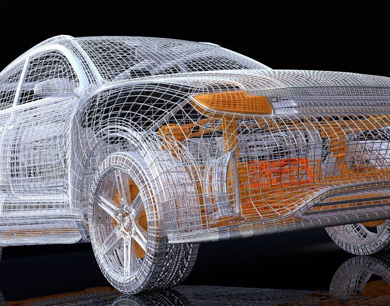 Sluit omhoog mening van zilveren en geel draadkader van elektrisch SUV op zwarte achtergrond vector illustratie