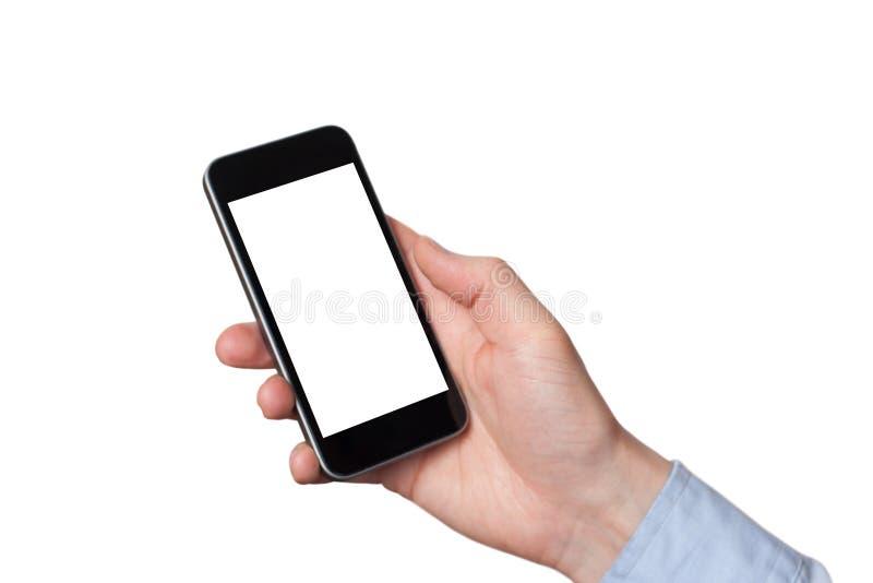 Sluit omhoog mensenhanden gebruikend slimme telefoonbatterij het lage geladen batterijscherm Witte achtergrond royalty-vrije stock afbeeldingen