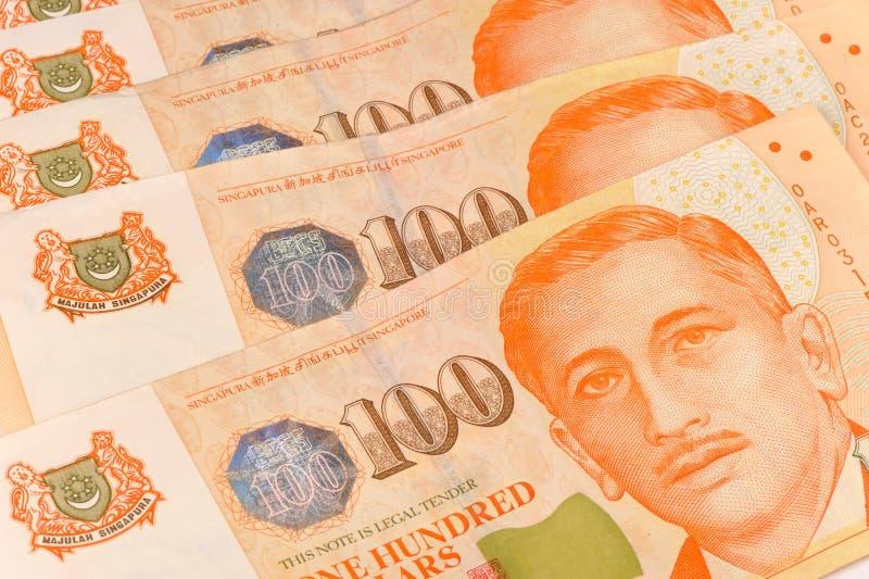 Sluit omhoog ontsproten van Singapore dollarnota's royalty-vrije stock afbeelding