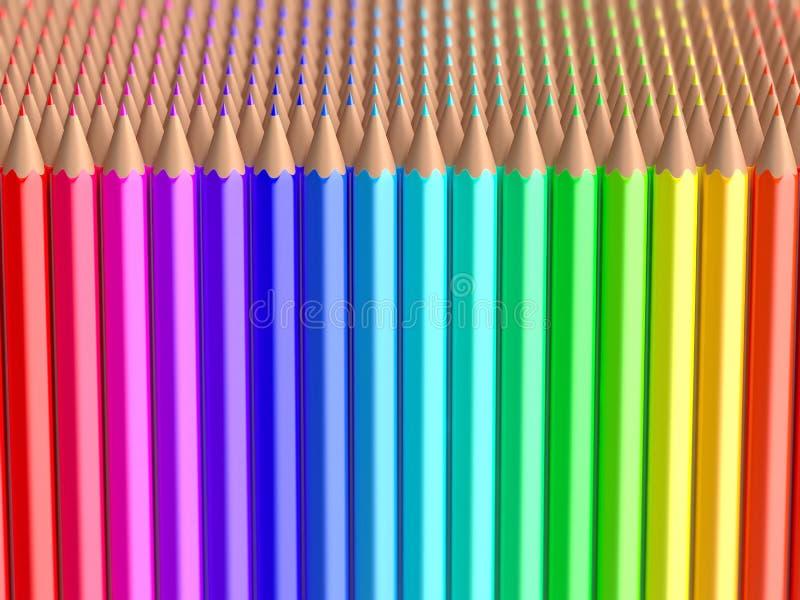 Sluit omhoog op de reeksen van regenboogkleurpotloden vector illustratie