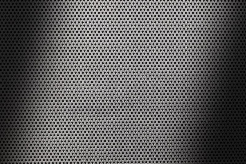 Sluit omhoog op een metaalbladtextuur met prikken en schaduwen vector illustratie