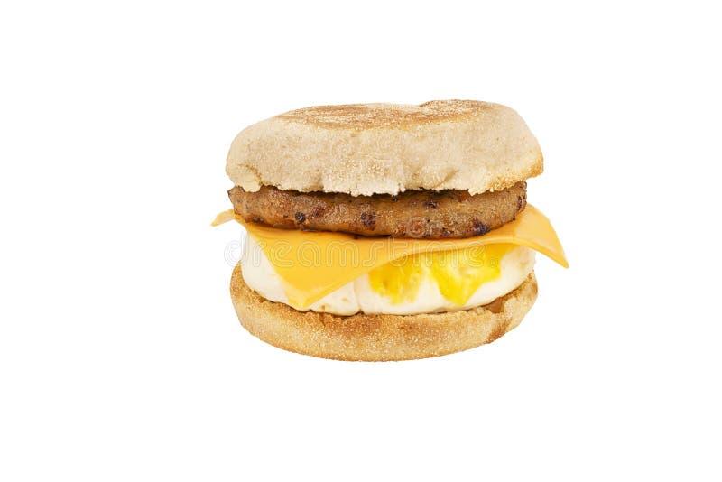 Sluit omhoog op een sandwichontbijt op witte achtergrond wordt geïsoleerd die stock fotografie