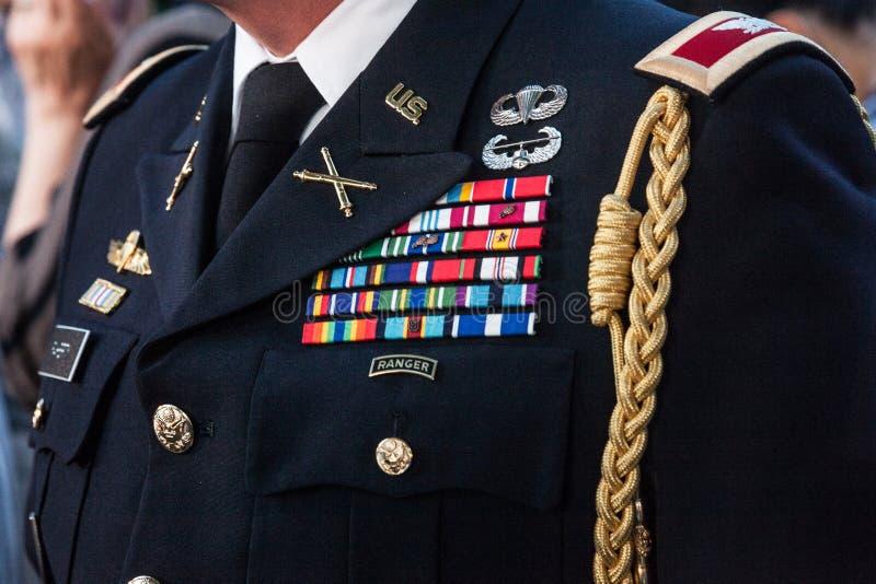 Sluit omhoog op het formele uniform van de Bereden politie van de V.S. op vertoning De het Legerbereden politie van Verenigde Sta royalty-vrije stock fotografie