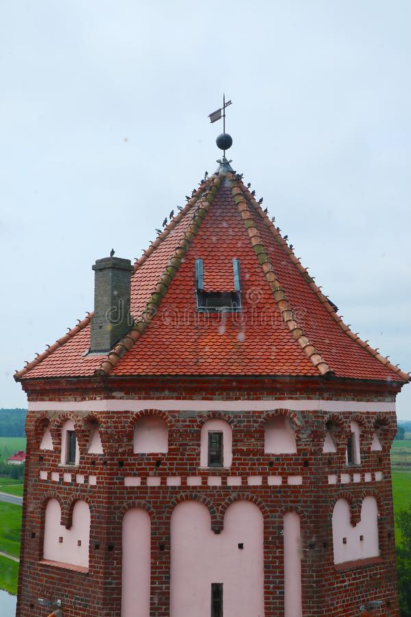 Sluit omhoog op kasteeltoren in Mir, Wit-Rusland royalty-vrije stock afbeeldingen