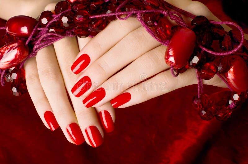 Sluit omhoog op mooie vrouwelijke handen met sexy rode manicure. stock foto