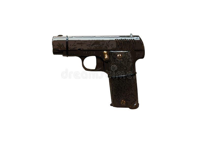 Sluit omhoog op oude uitstekende illustratie van pistool op witte backgrou royalty-vrije stock fotografie