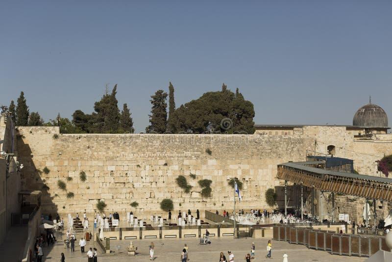 Sluit omhoog op Westelijke Muur ook geroepen Loeiende Muur in Jeruzalem, Israël stock afbeeldingen