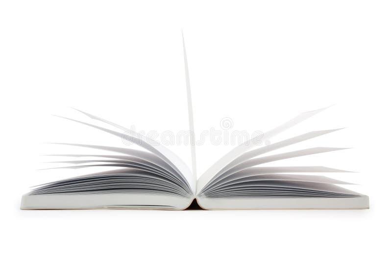 Sluit omhoog open geïsoleerd boek stock afbeeldingen