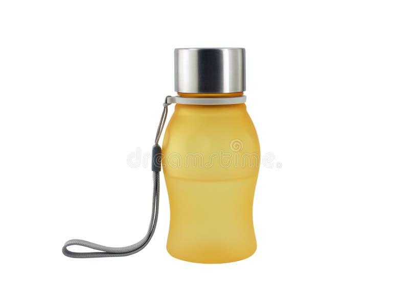 Sluit omhoog oranje doorzichtige glasfles met aluminiumdeksel en de grijze die riem van de handkabel op witte achtergrond wordt g royalty-vrije stock fotografie