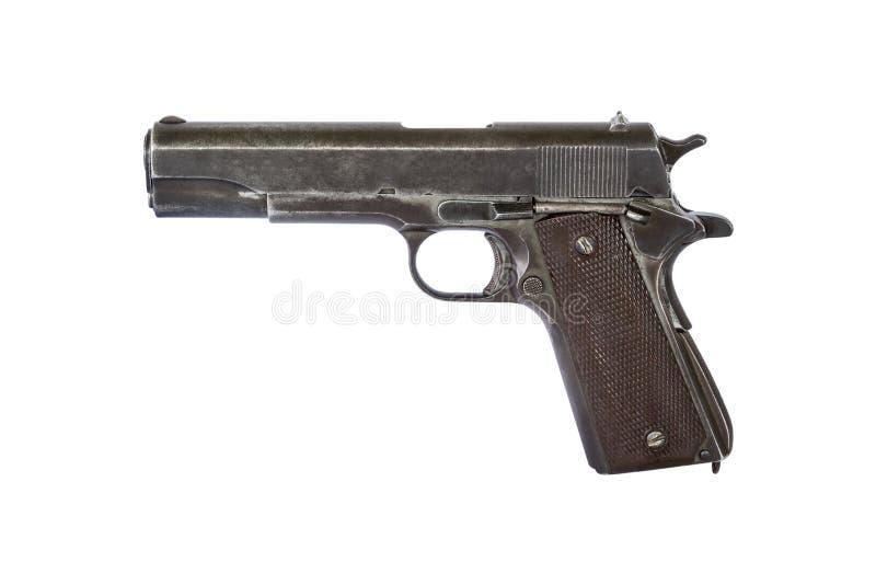 Sluit omhoog oud pistool militair wapen dat op witte achtergrond wordt geïsoleerd stock foto's