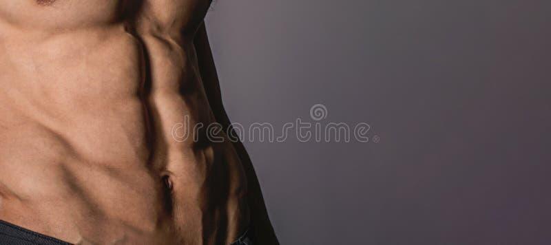 Sluit omhoog perfecte abs Sexy spier mannelijk torso zes pakken stock afbeeldingen