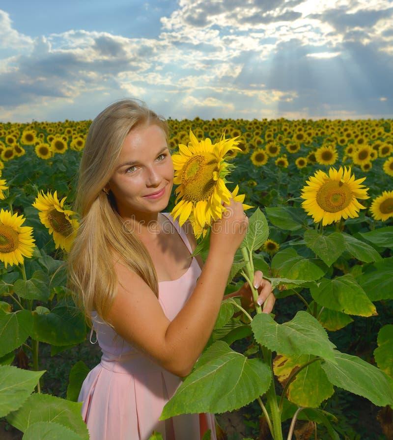 Sluit omhoog portret van een mooi jong meisje in roze kleding op een gebied van zonnebloemen stock foto