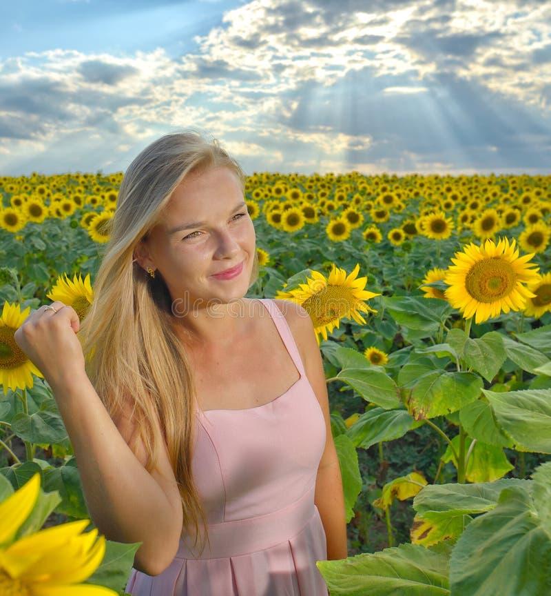 Sluit omhoog portret van een mooi jong meisje in roze kleding op een gebied van zonnebloemen stock afbeelding