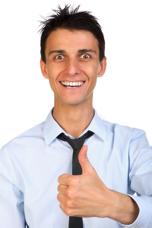 Sluit omhoog portret van een mooie glimlach jonge gelukkige bedrijfsmens stock fotografie