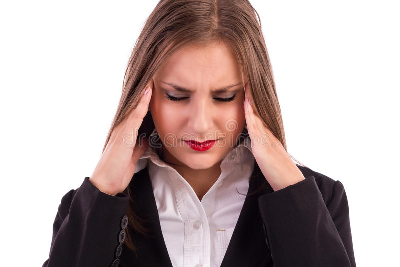 Sluit omhoog portret van een vrij jonge bedrijfsvrouw met headach stock fotografie