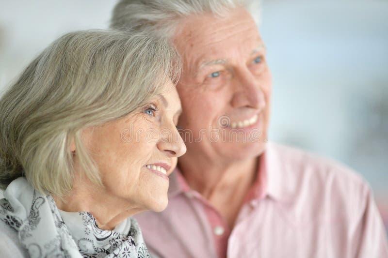 Sluit omhoog portret van gelukkig mooi hoger paar die thuis stellen royalty-vrije stock fotografie