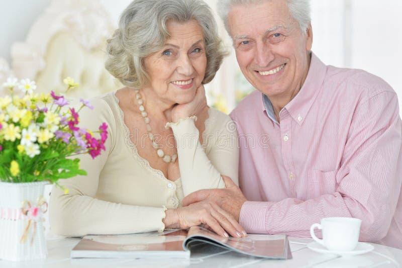 Sluit omhoog portret van gelukkige hogere paar het drinken thee stock afbeelding