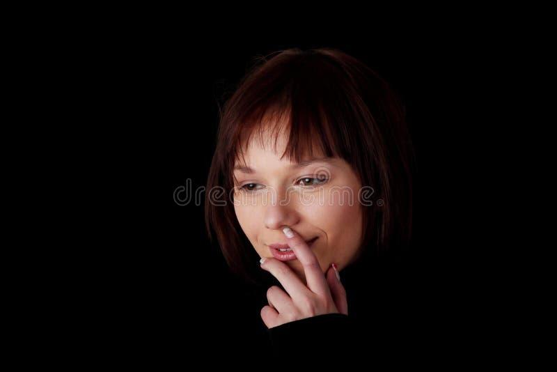 Sluit omhoog portret van gelukkige jonge Kaukasische vrouw royalty-vrije stock foto