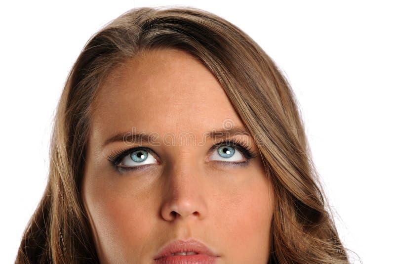 Sluit omhoog Portret van het Jonge omhoog Kijken van de Vrouw stock foto's