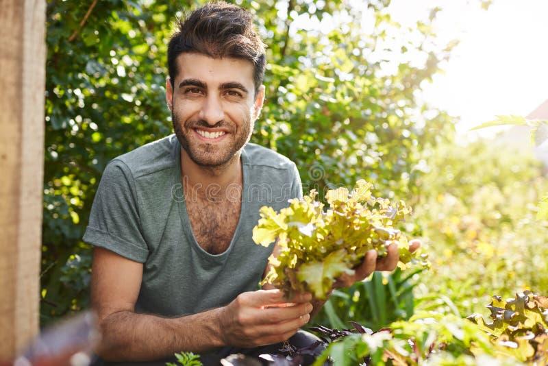 Sluit omhoog portret van het mooie donker-gevilde gebaarde Kaukasische landbouwer glimlachen, werkend in tuin, verzamelt slablade stock fotografie