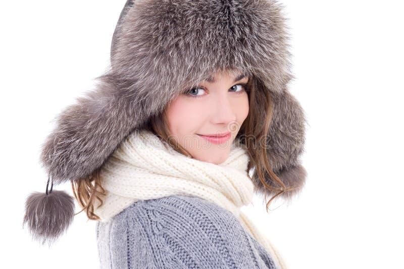Sluit omhoog portret van jonge mooie vrouw in de winterkleren ISO royalty-vrije stock afbeeldingen
