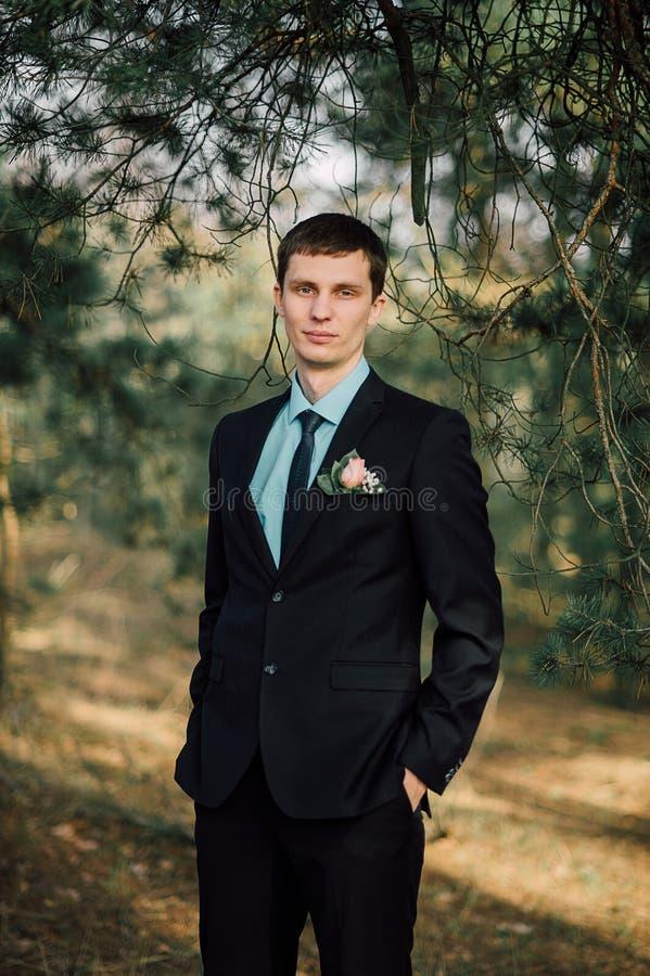 Sluit omhoog portret van knappe modieuze bruidegom in openlucht in park met rode bowtie stock fotografie