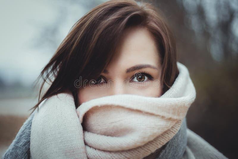 Sluit omhoog portret van mannequinvrouw met perfect maken omhoog en verbazende donkere ogen Portret van jonge mooie modieus royalty-vrije stock afbeeldingen