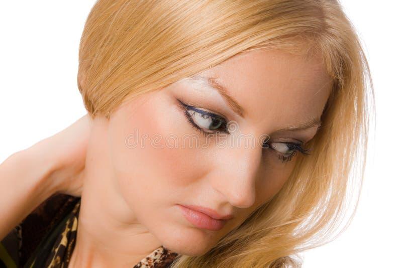 Sluit omhoog portret van mooie blonde royalty-vrije stock afbeeldingen