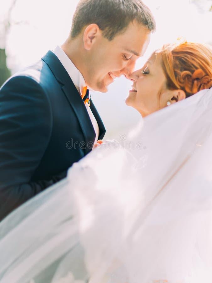 Sluit omhoog portret van mooie redhairbruid en knappe bruidegom die veel liefs elkaar bekijken royalty-vrije stock afbeelding