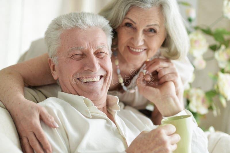 Sluit omhoog portret van twee bejaarde mensen die thuis met thee rusten royalty-vrije stock foto