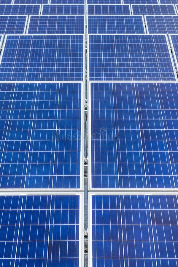 Sluit omhoog rijenserie van zonnecellen of photovoltaics in zonnekrachtcentrale stock afbeelding