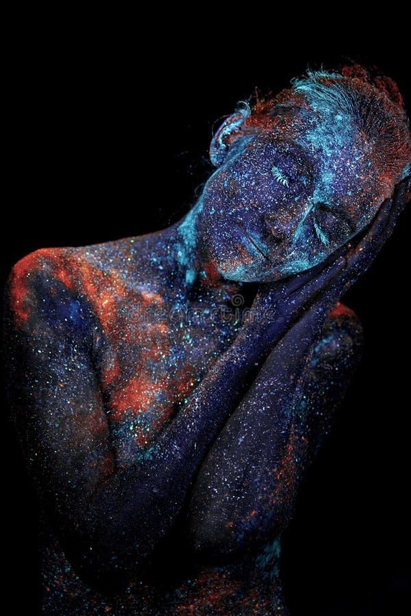 Sluit omhoog UV abstracte portretkosmische ruimte royalty-vrije stock afbeeldingen