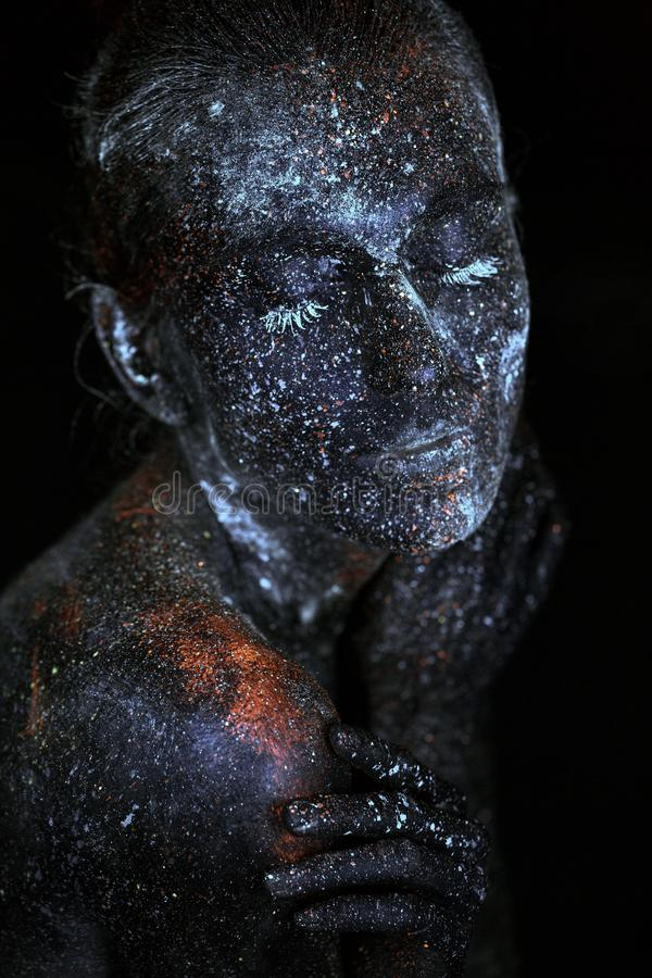Sluit omhoog UV abstracte portretkosmische ruimte royalty-vrije stock foto's