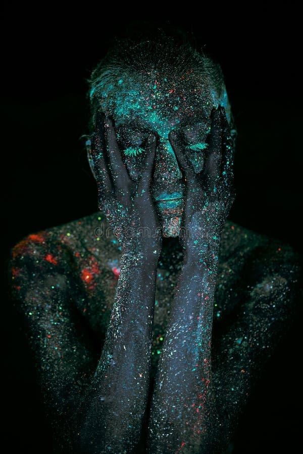 Sluit omhoog UV abstracte portretkosmische ruimte royalty-vrije stock afbeelding