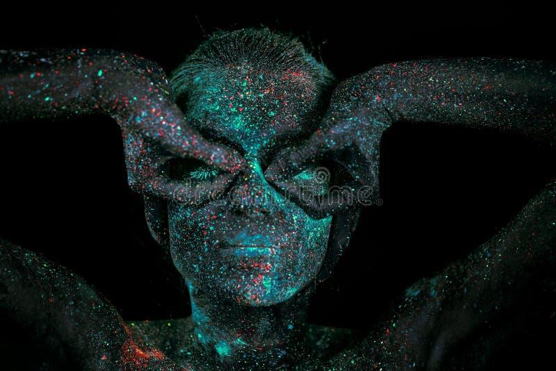 Sluit omhoog UV abstracte portretkosmische ruimte stock afbeeldingen