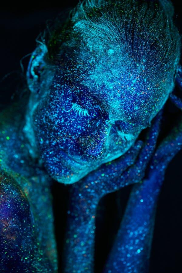 Sluit omhoog UV abstracte portretkosmische ruimte stock fotografie