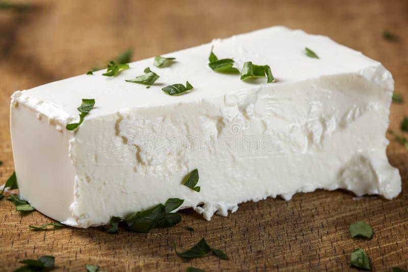 Sluit omhoog van één stuk van verse feta-kaas stock foto