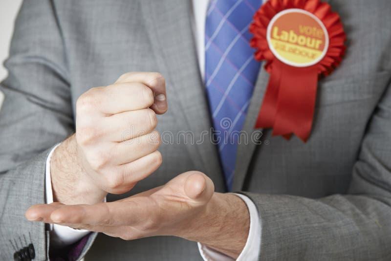 Sluit omhoog van Arbeidspoliticus Making Passionate Speech royalty-vrije stock foto's