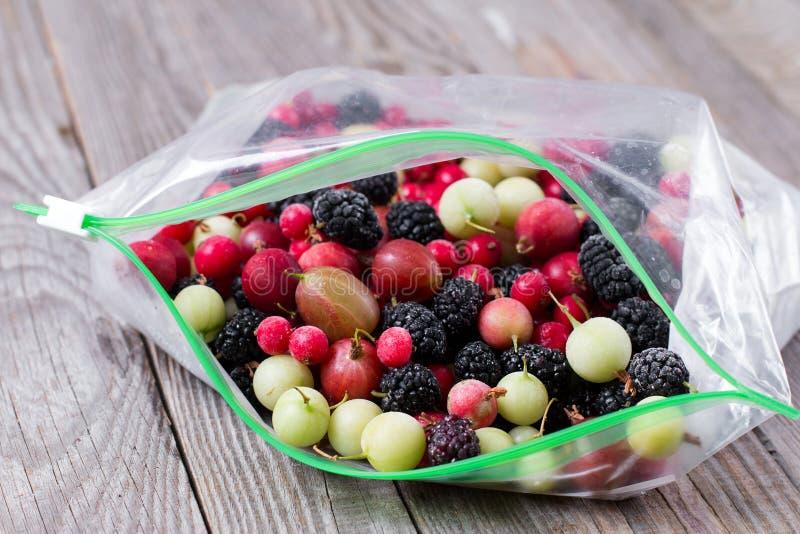 Sluit omhoog van bevroren gemengd fruit stock afbeelding