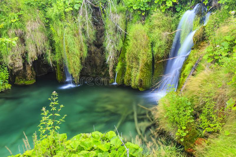 Sluit omhoog van blauwe watervallen in een groen bos tijdens dag in de Zomer De Meren van Plitvice, Kroatië stock afbeelding