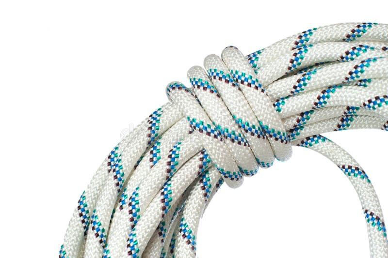 Sluit omhoog van bocht van kabel gebruikend in speleoactiviteit en het werken o stock afbeeldingen